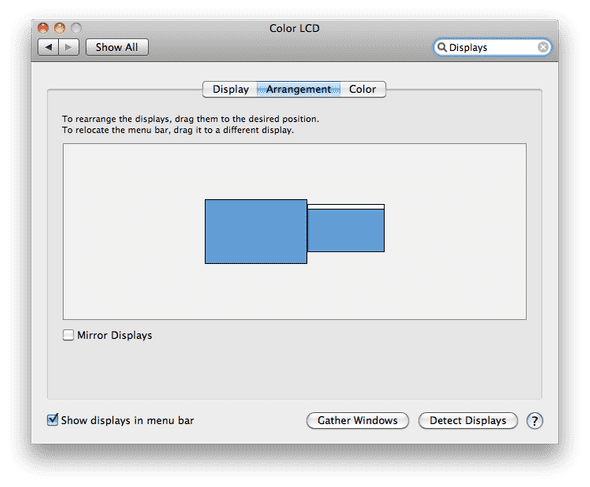 The Display Window in the System Preferences.